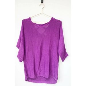 Chicos Purple Knit Pullover Sweater Cutout detail